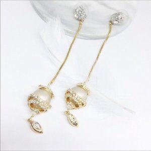 NWOT Alexis Bittar Pearl Crystal Drop Earrings